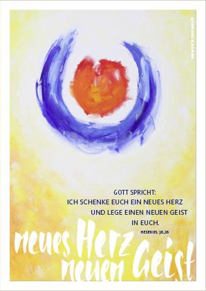 Merle Neumann malt die Jahreslosung 2017 – Gott spricht: Ich schenke euch ein neues Herz und lege einen neuen Geist in euch. Hesekiel 36,26