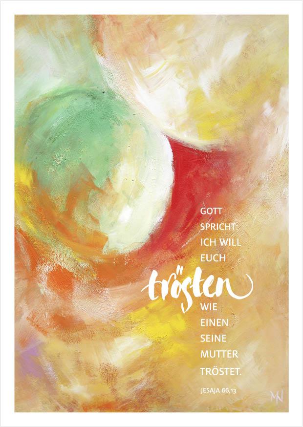 Merle Neumann malt die Jahreslosung 2016 – Gott sprich: Ich will euch trösten, wie einen seine Mutter tröstet. Jesaja 66,13