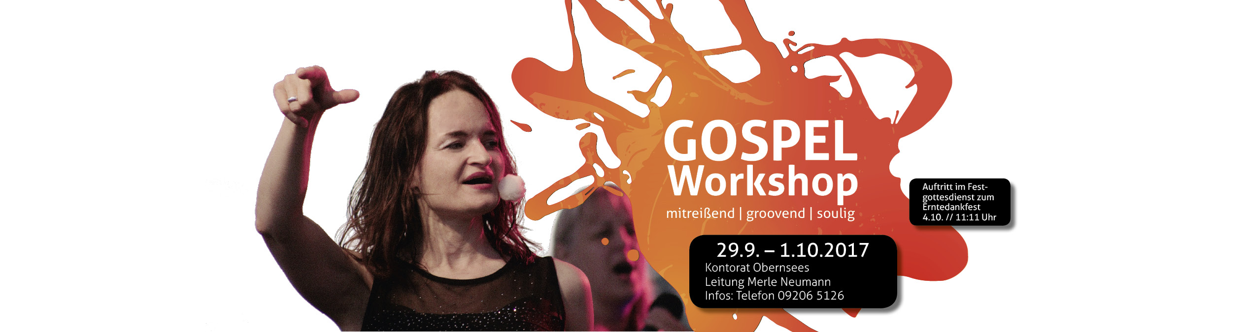 Gospelworkshop mit Merle Neumann in Obernsees 2017