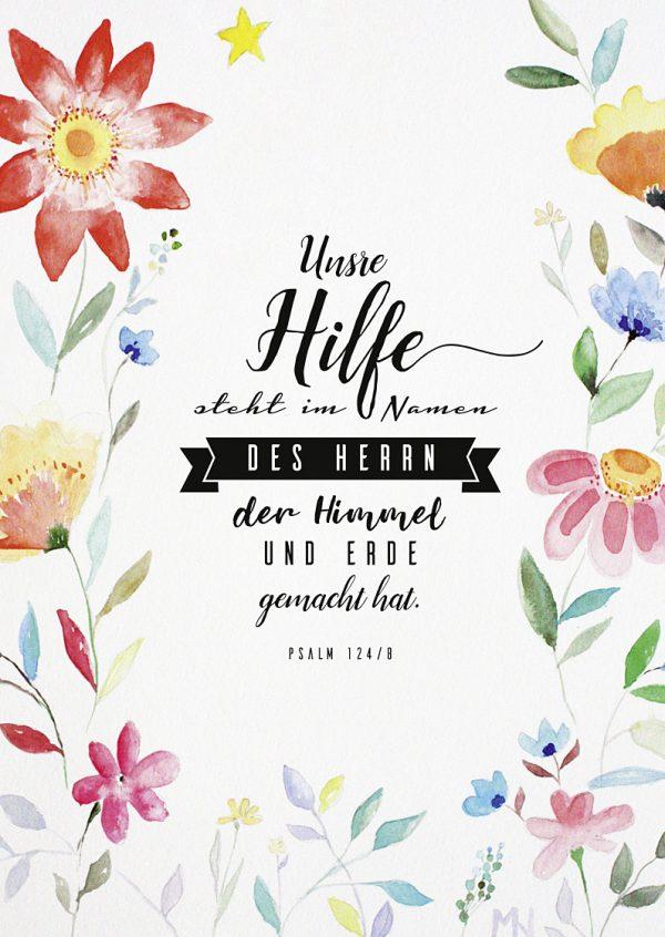 Merle Neumann malt – Bildmotiv: Hilfe – Unsre Hilfe steht im Namen des HERRN, der Himmel und Erde gemacht hat. Psalm 124,8