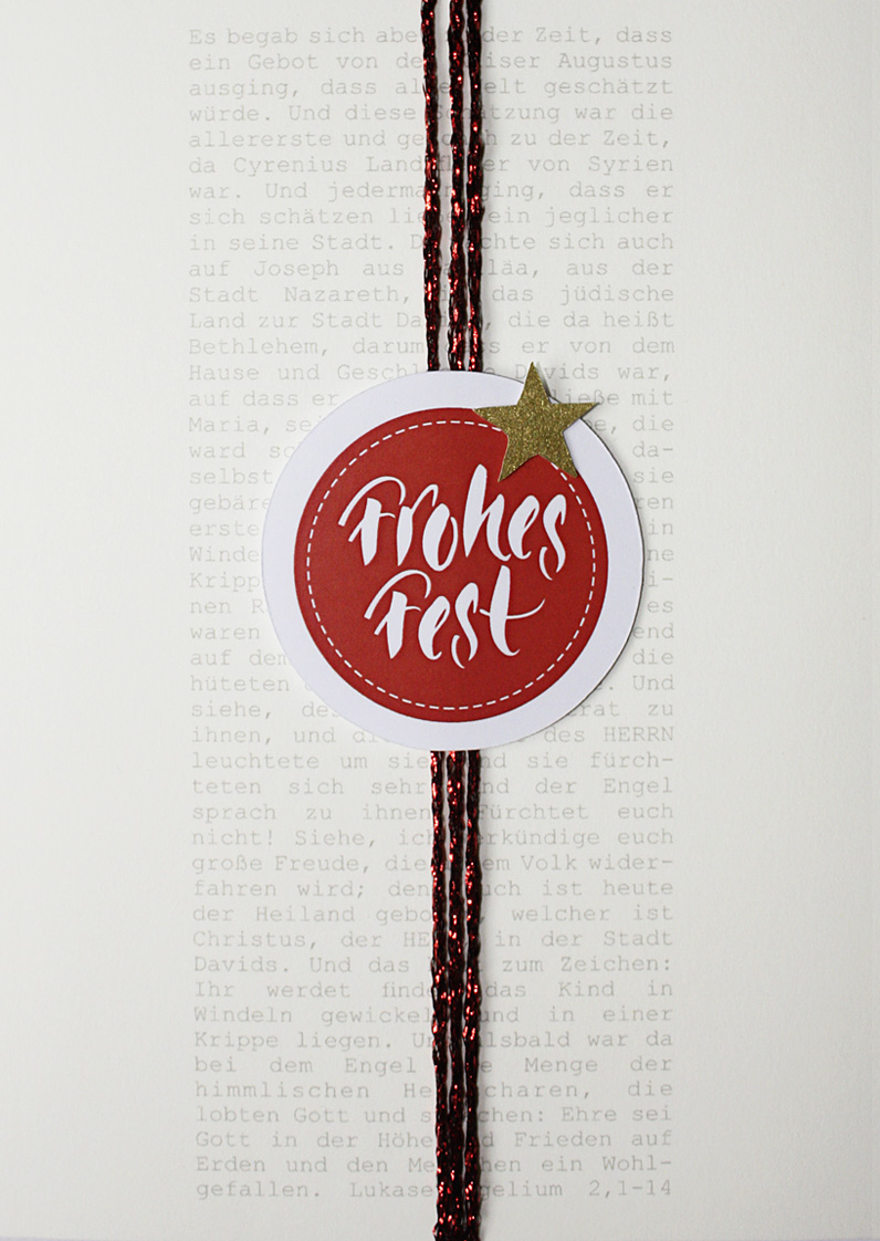 Merle Neumann gestaltet Weihnachtskarten – Bildmotiv: Weihnachtsgeschichte aus dem Lukasevangelium mit Banderole Frohes Fest