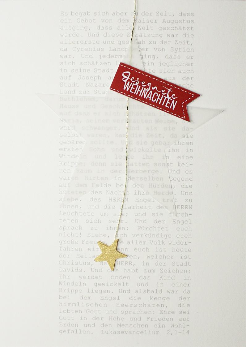 Merle Neumann gestaltet Weihnachtskarten – Bildmotiv: Weihnachtsgeschichte aus dem Lukasevangelium mit transparentem Stern